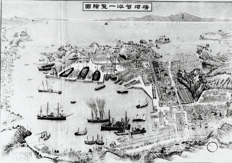 Illustrated Map of the Port of Yokosuka